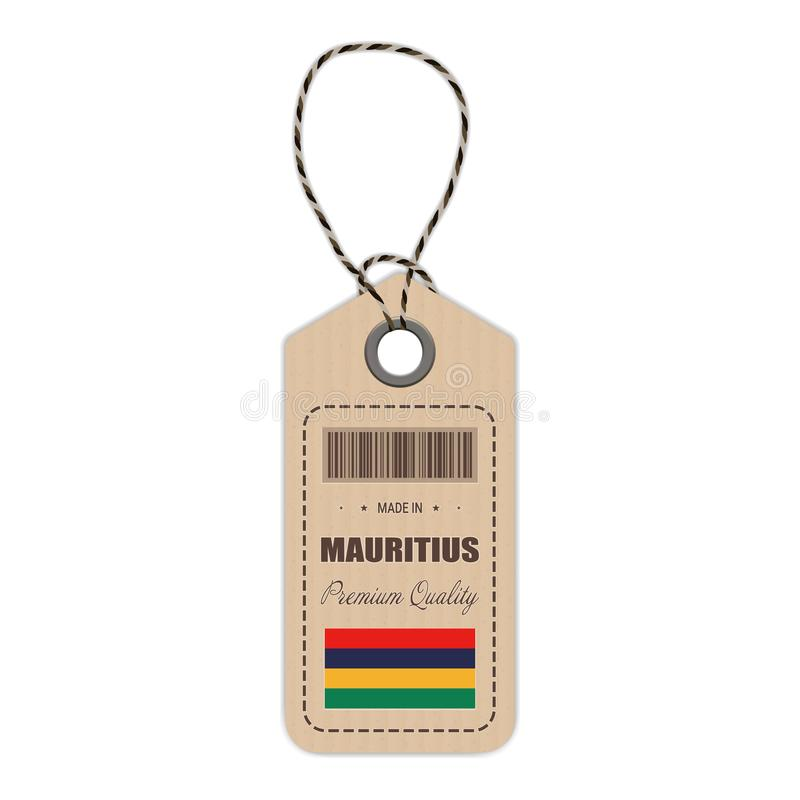 Hang Tag Made In Mauritius With Flag Icon Isolated On A White Background. Vector Illustration. vector illustration