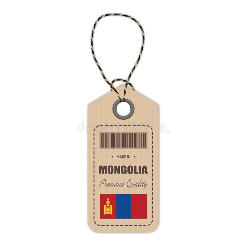 Hang Tag Made In Mongolia avec l'icône de drapeau d'isolement sur un fond blanc Illustration de vecteur illustration libre de droits