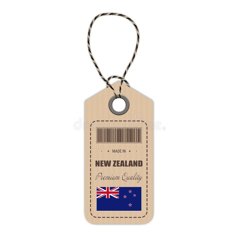 Hang Tag Made In New Zealand With Flag Icon Isolated On A White Background. Vector Illustration. vector illustration