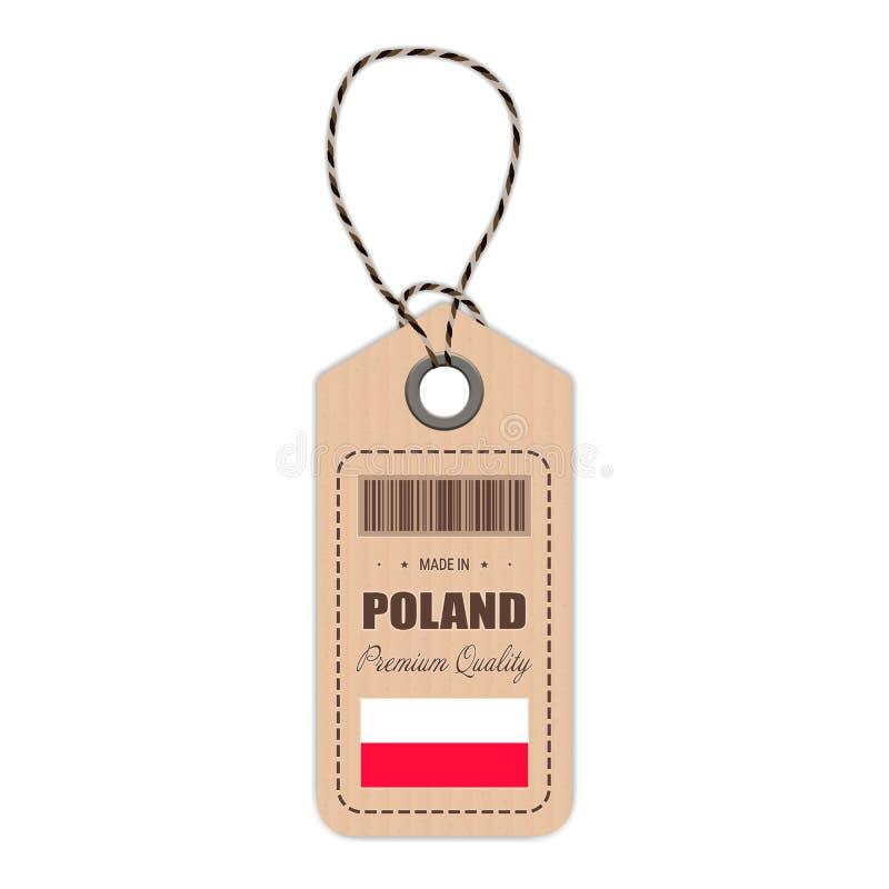 Hang Tag Made In Poland con l'icona della bandiera isolata su un fondo bianco Illustrazione di vettore illustrazione vettoriale