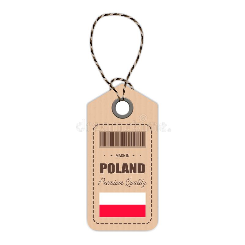 Hang Tag Made In Poland With Flag Icon Isolated On A White Background. Vector Illustration. vector illustration