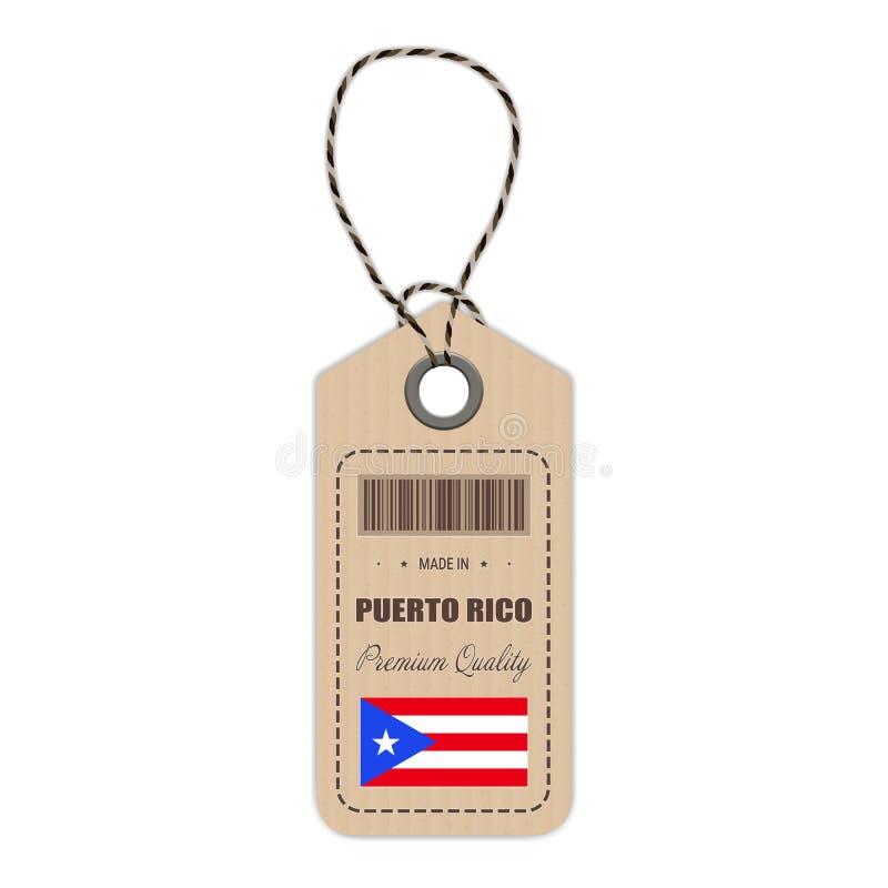 Hang Tag Made In Puerto Rico With Flag Icon Isolated em um fundo branco Ilustração do vetor ilustração do vetor