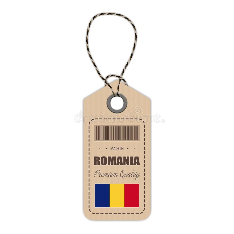 Hang Tag Made In Romania With Flag Icon Isolated On A White Background. Vector Illustration. royalty free illustration