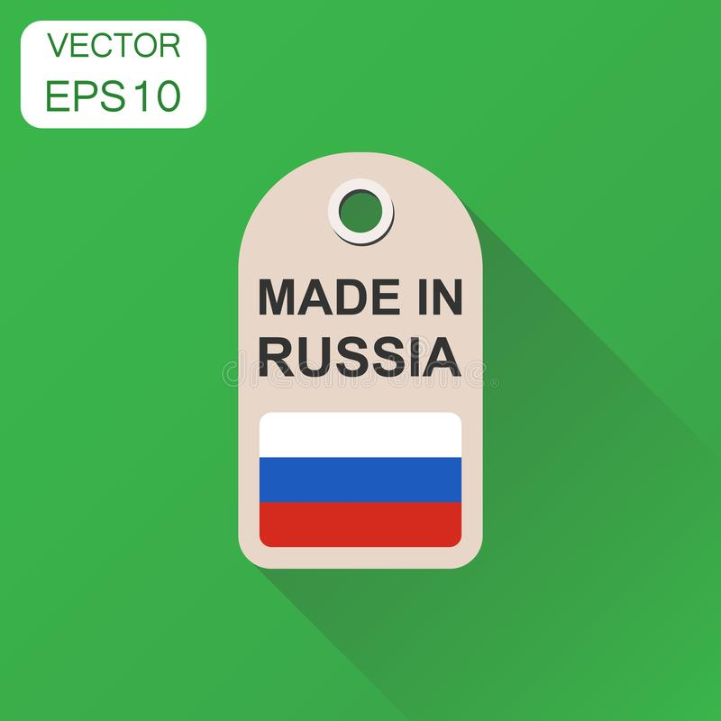 Hang tag made in Russia with flag icon. Business concept manufactued in Russia. Vector illustration on green background with long. Shadow royalty free illustration