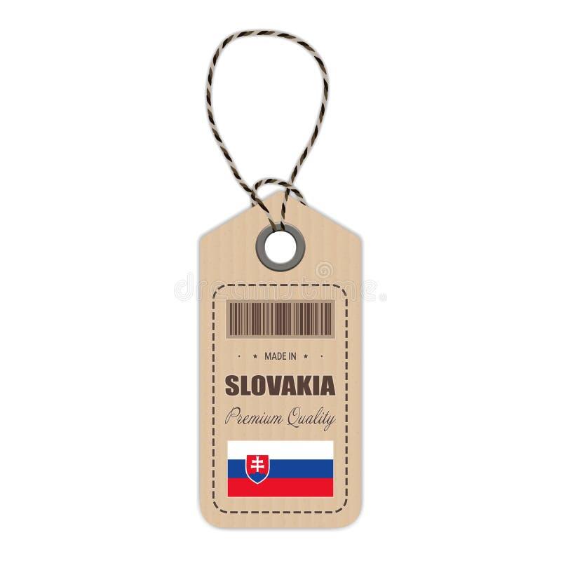 Hang Tag Made In Slovakia con el icono de la bandera aislado en un fondo blanco Ilustración del vector ilustración del vector
