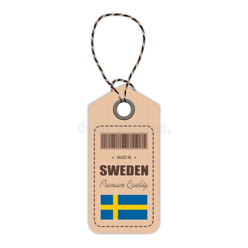 Hang Tag Made In Sweden con el icono de la bandera aislado en un fondo blanco Ilustración del vector stock de ilustración
