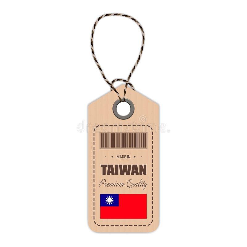 Hang Tag Made In Taiwan con el icono de la bandera aislado en un fondo blanco Ilustración del vector libre illustration