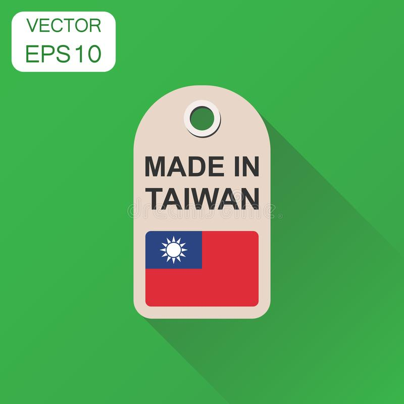 Hang tag made in Taiwan with flag icon. Business concept manufactued in Taiwan. Vector illustration on green background with long. Shadow stock illustration