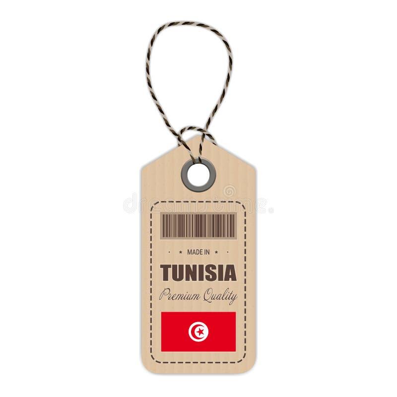 Hang Tag Made In Tunisia med flaggasymbolen som isoleras på en vit bakgrund också vektor för coreldrawillustration royaltyfri illustrationer