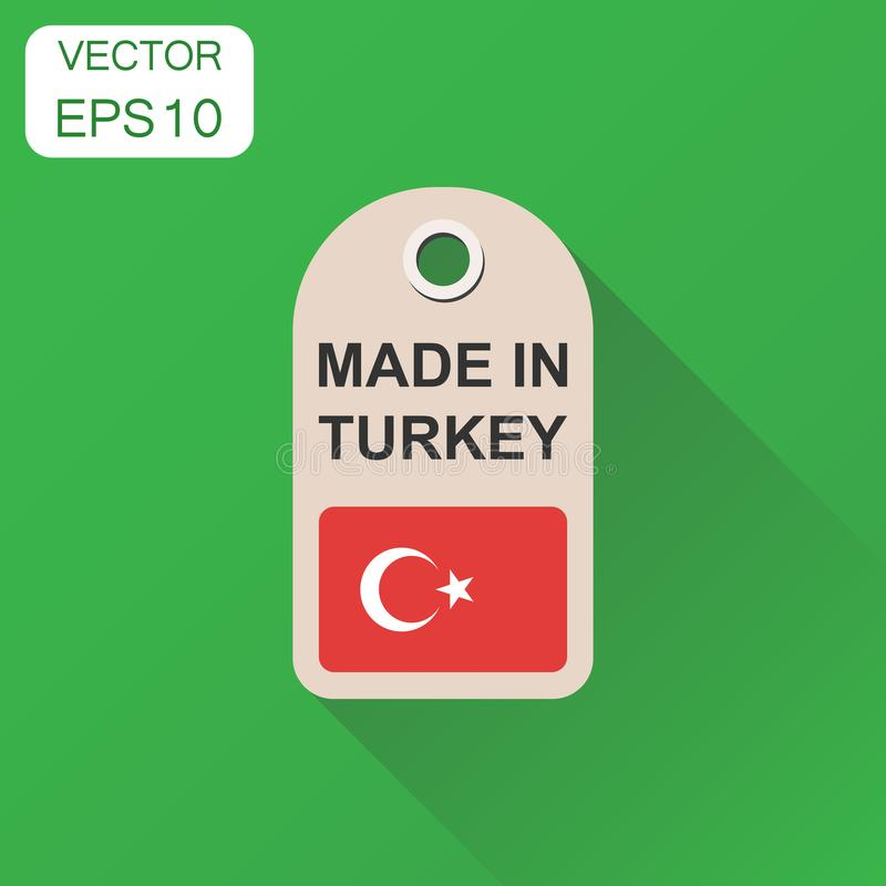Hang tag made in Turkey with flag icon. Business concept manufactued in Turkey. Vector illustration on green background with long. Shadow royalty free illustration