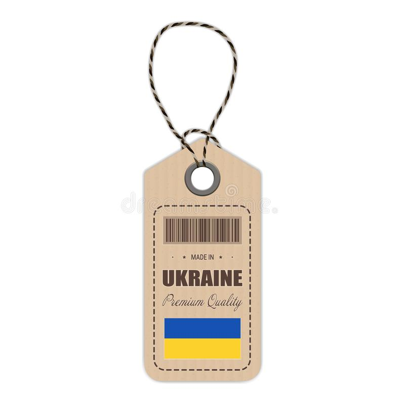 Hang Tag Made In Ukraine With Flag Icon Isolated On A White Background. Vector Illustration. royalty free illustration