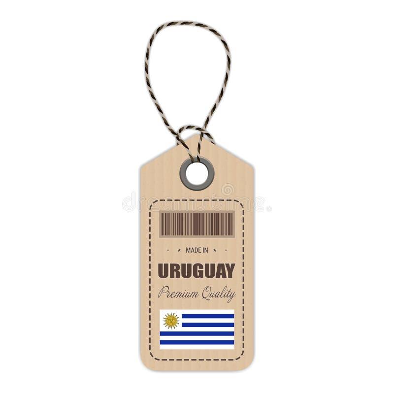 Hang Tag Made In Uruguay med flaggasymbolen som isoleras på en vit bakgrund också vektor för coreldrawillustration royaltyfri illustrationer