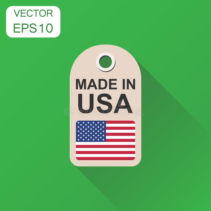 Hang tag made in USA with flag icon. Business concept manufactued in USA. Vector illustration on green background with long. Shadow stock illustration