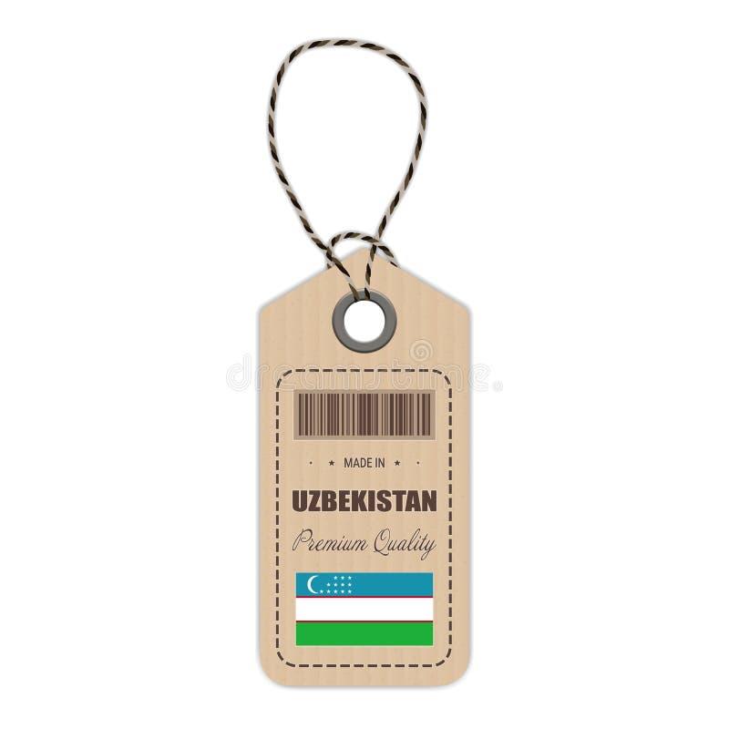 Hang Tag Made In Uzbekistan avec l'icône de drapeau d'isolement sur un fond blanc Illustration de vecteur illustration libre de droits