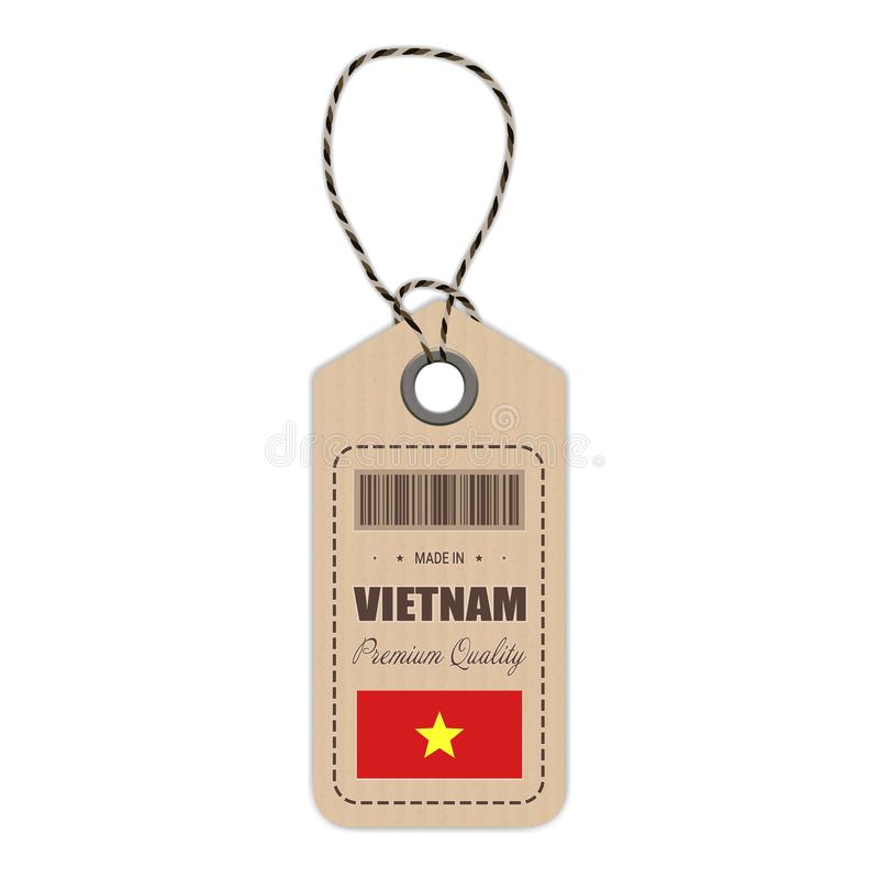 Hang Tag Made In Vietnam With Flag Icon Isolated On A White Background. Vector Illustration. stock illustration