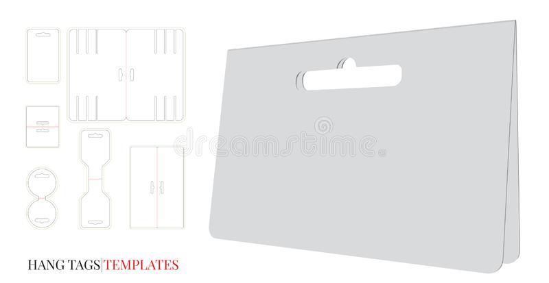 Hang Tag Template, Vector with die cut / laser cut lines. Set with different template designs. Price Tag. White, clear, blank, isolated Hang Tag mock up on vector illustration