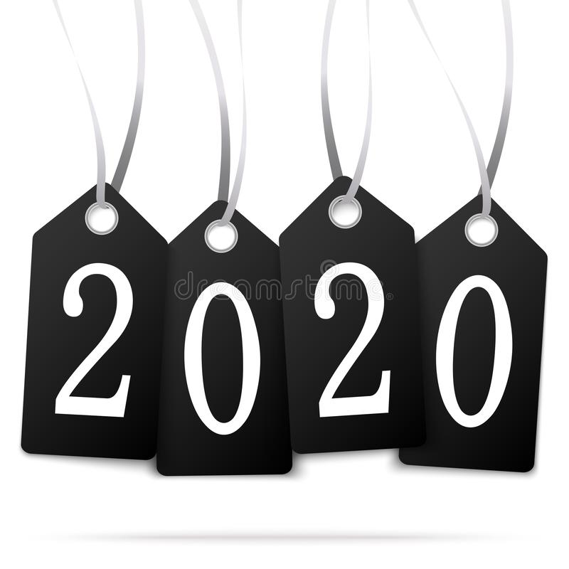 Hang tags with year 2020. Black colored hang tags with numbers 2020 for New Year greetings, years, eve, day, celebration, beginning, happy, fireworks, holiday vector illustration