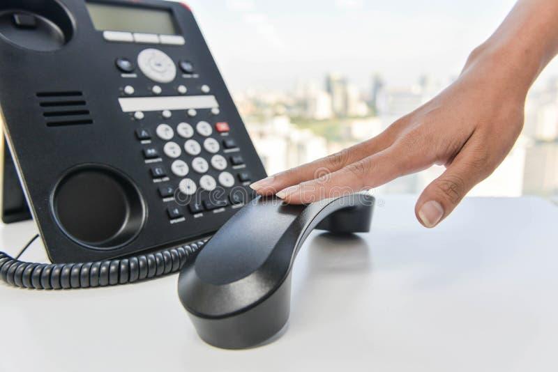 Hang up the phone call stock photos