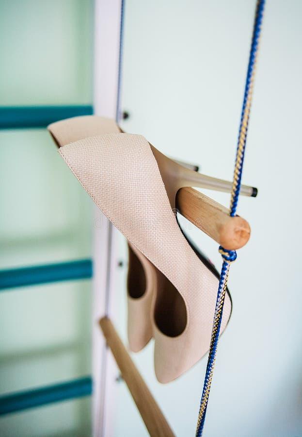Hang wedding beautiful white shoes bride stock photo