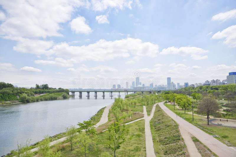Hangang Park and buildings at Yeouido stock images
