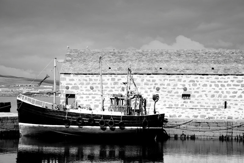 hangar łodzi połowowych fotografia stock