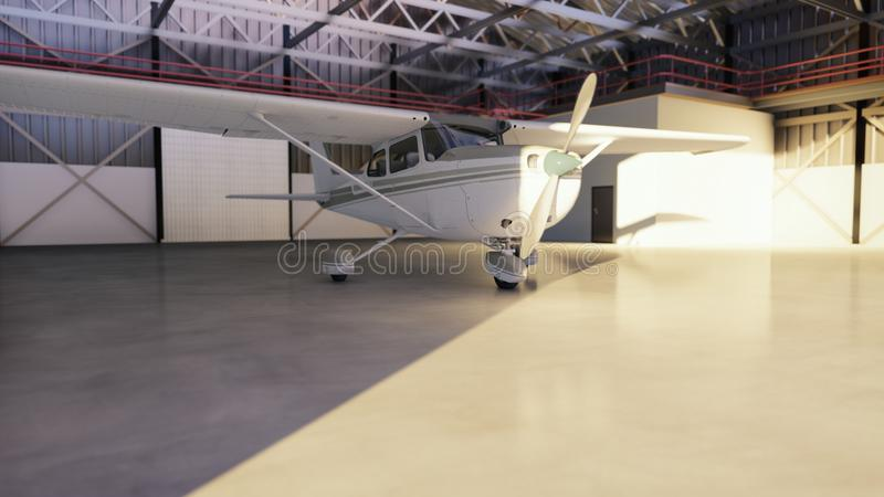 Hangar for aircraft with airplane at sunny summer day. 3D Rendering stock illustration