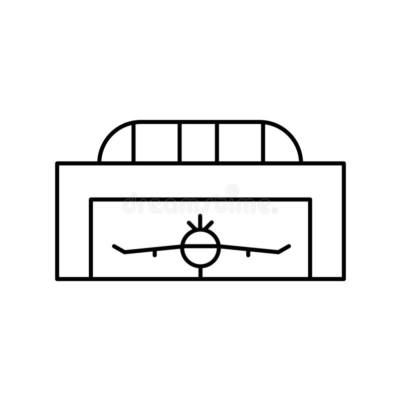 Hangar, airplane, flight line icon. elements of airport, travel illustration icons. signs, symbols can be used for web, logo,. Mobile app, UI, UX on white royalty free illustration