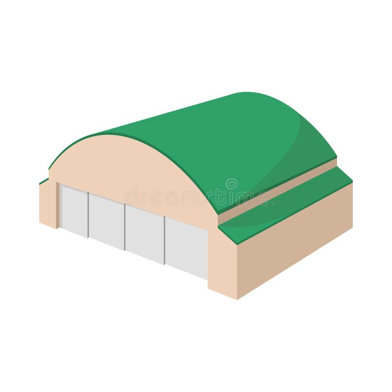 Hangar building cartoon icon. On a white background stock illustration
