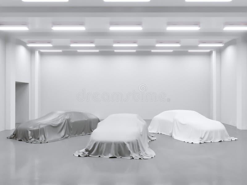 Hangar com estúdio da foto e coberto com o carro de pano 3d rendição, exibição da ilustração, seda, lisa, estúdio ilustração do vetor