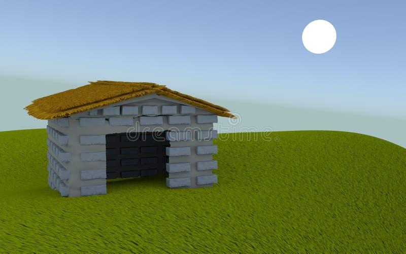 Hangar d'isolement dans un domaine illustration stock