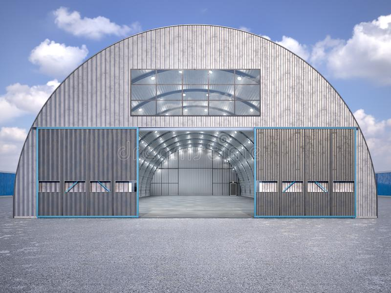 Hangar exterior with open gate. 3d illustration vector illustration