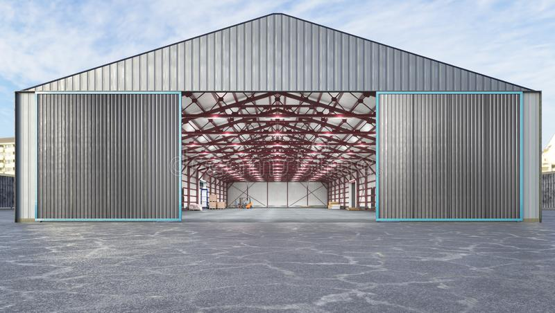 Hangar exterior with open gate. 3d illustration stock illustration