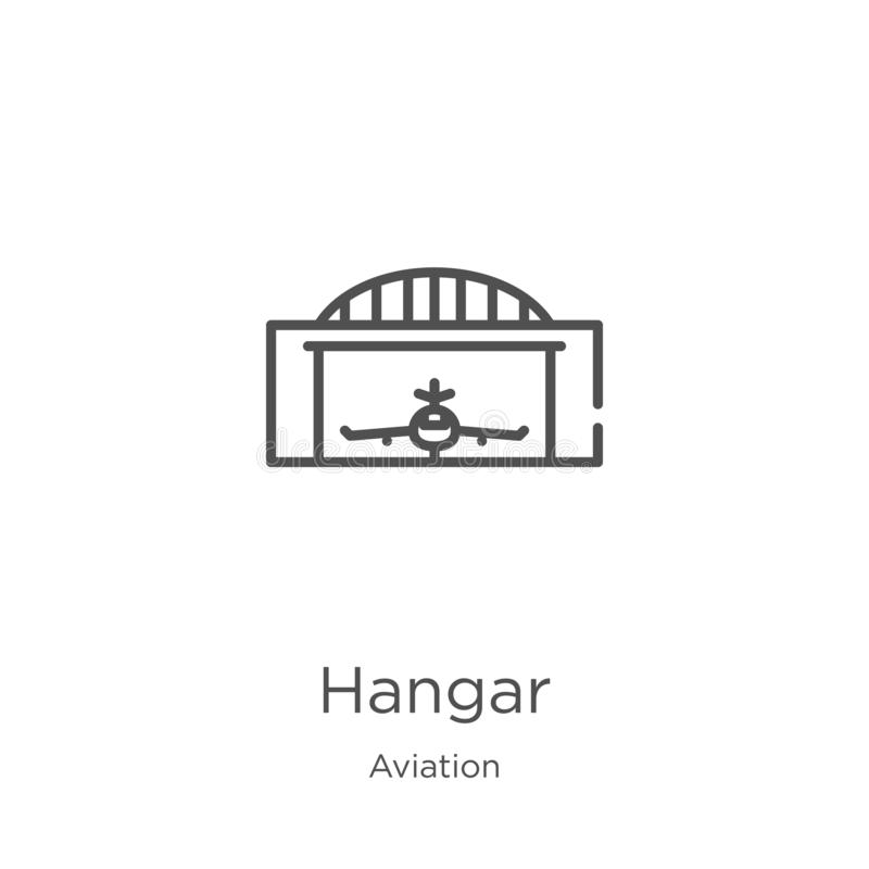 hangar icon vector from aviation collection. Thin line hangar outline icon vector illustration. Outline, thin line hangar icon for vector illustration