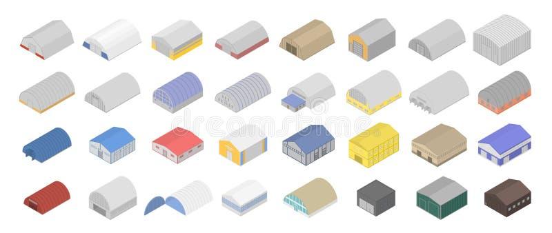 Hangar icons set, isometric style vector illustration