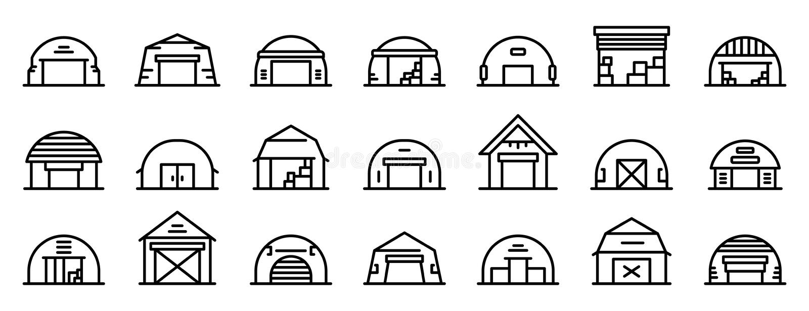 Hangar icons set, outline style vector illustration