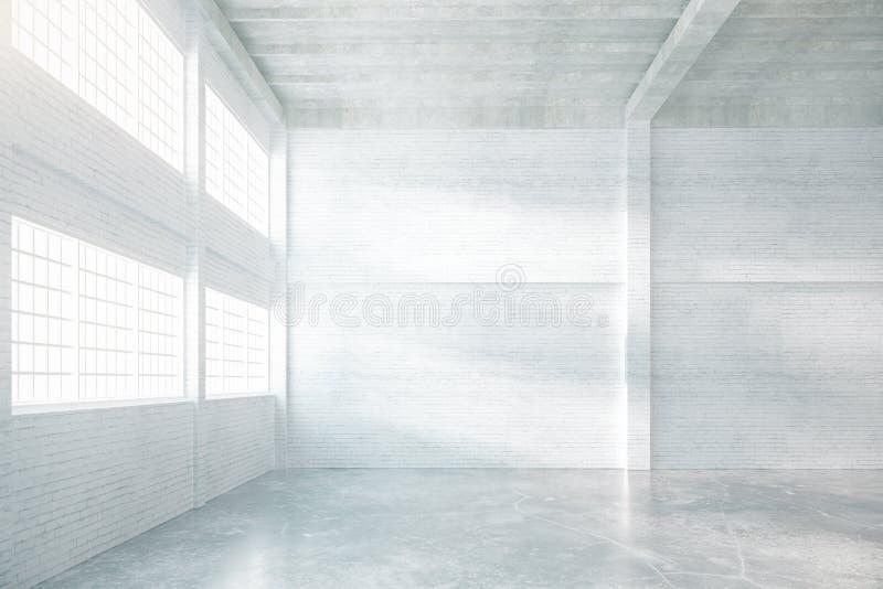 Hangar interior in brick. Hangar interior with brick walls, windows and concrete floor. 3D Rendering stock illustration