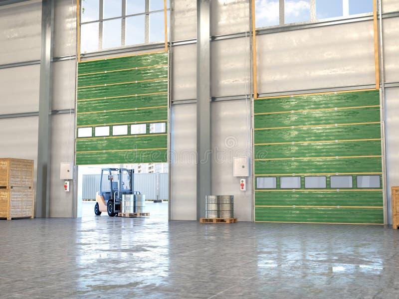 Hangar interior com portas ilustra??o 3D ilustração royalty free