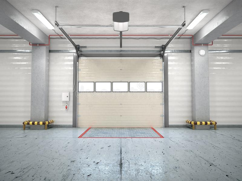 Hangar interior with gate. 3d illustration vector illustration