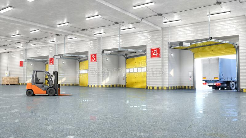 Hangar interior with gates. 3d illustration royalty free stock images