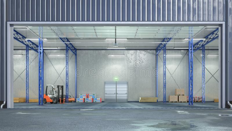 Hangar interior with open gate. 3d illustration stock illustration