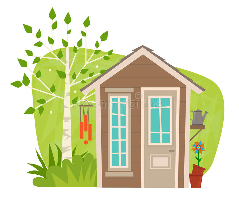 Hangar mignon de jardin illustration libre de droits