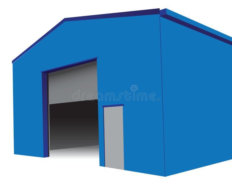 Hangar with an open gate. Industrial hangar with an open gate. Vector illustration vector illustration