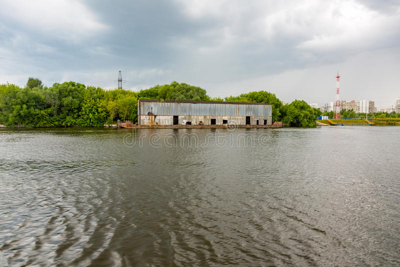 Hangar on the river barge royalty free stock images