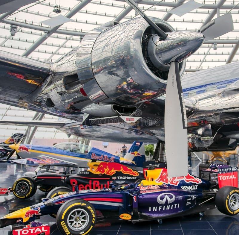 HANGAR-7, SALZBURG – NOVEMBER 18, 2018: RedBull racing cars and airplanes exhibition in Salzburg, Austria.  stock photography