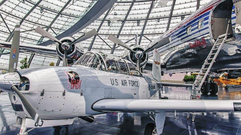 HANGAR-7, SALZBURG – NOVEMBER 18, 2018: RedBull racing cars and airplanes exhibition in Salzburg, Austria.  royalty free stock photos