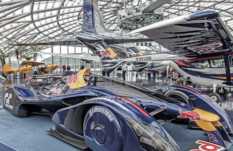 HANGAR-7, SALZBURG – NOVEMBER 18, 2018: RedBull racing cars and airplanes exhibition in Salzburg, Austria.  royalty free stock images