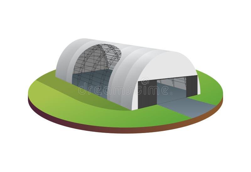 Hangar temporal de los aviones del pasillo del túnel de la exposición del almacén de la tienda de la lona del toldo Wireframe del imagen de archivo