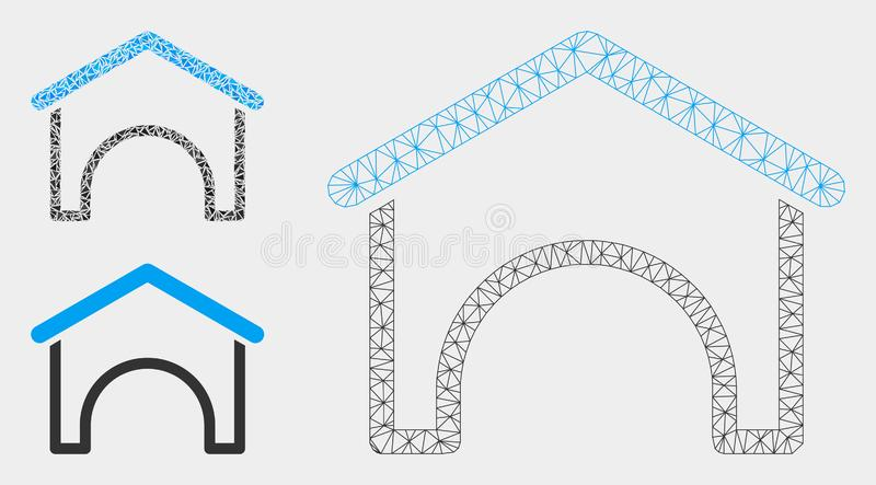 Hangar Vector Mesh Network Model and Triangle Mosaic Icon royalty free illustration