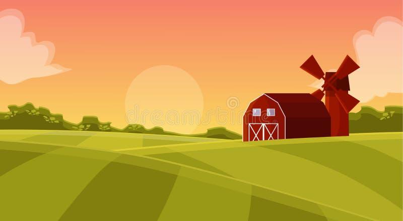 Hangar vermelho de madeira no campo dos fazendeiros ilustração do vetor