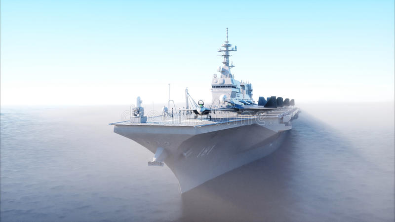 Hangarfartyg i havet, hav med kämpen Krig- och vapenbegrepp framförande 3d royaltyfri illustrationer